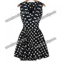 Plunging Neck Polka Dot Print Beam Waist Sleeveless Pleated Dress For Women