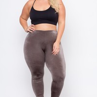 Plus Size Velvet Leggings - Grey