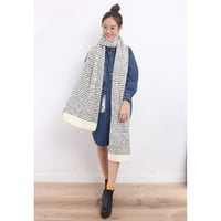Oversized Monochrome Textural Knitted Scarf