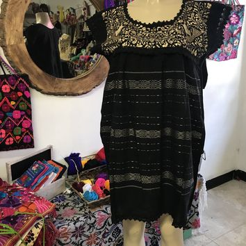 Oaxaca Black Short Loomed Dress with Gold Embroidery