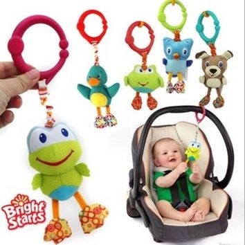 DCCKL72 American Quality Baby Toys Colorful Cute animal pendant for Stroller and Crib Black dog Green frog owl dolls