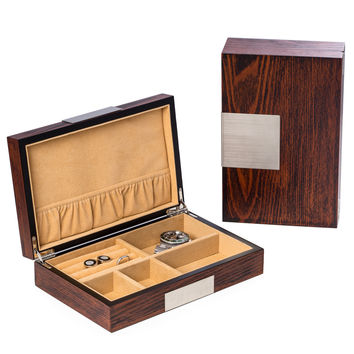 """Lacquered """"Natural"""" Wood Valet Box"""