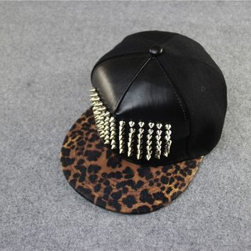 Trendy Winter Jacket  spiked rivet  leather luxury brand snapback for women men hip hop capGold and silver white novelty baseball cap hats AT_92_12