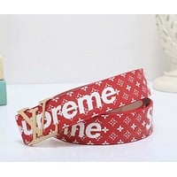 Supreme x Louis Vuitton Woman Men Fashion Smooth Buckle Belt Leather Belt