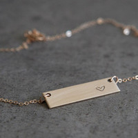 Short Nameplate Necklace/ Personalized Jewelry /Initials Necklace/ Monogram Necklace/ Gold Name Bar/Wedding gift/Bridesmaid gift/N139G