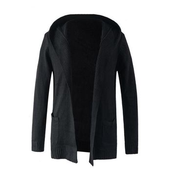 Trench Coat Men Sweater Knitting Jacket Men Double-Breasted Long Section Brand Outwear Men Cotton Jackets