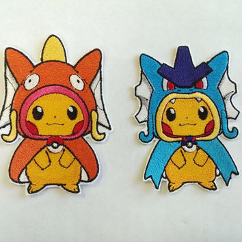 Fully Embroidered Pikados & Karpkachu Pokémon Patch