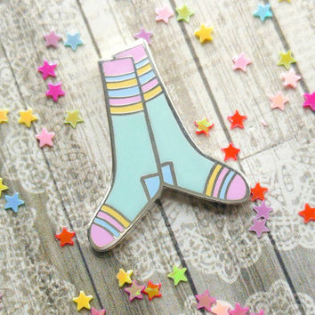 Enamel pin, cute hard enamel pin, gift under 10, cute pin badge, stripy socks, socks enamel pin, brooch, UK shop