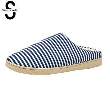 Senza Fretta Soft Warm Slippers Floor Men Shoes Bedroom Warm Slippers Couple Half Pack Warm Cotton Slippers Comfortable shoes