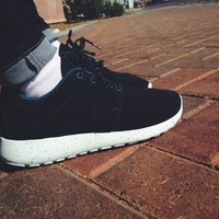 Black Blue Suede Roshe Run size 8