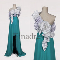 Custom One Shoulder Flowers Ice Blue Long Prom Dresses Hi Low Evening Dresses Formal Party Dresses Wedding Party Dress Dress Party