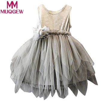 2018 new elegant Flower Girls Toddler Baby Princess Pageant Tulle children's clothing Princess daughter girls Tutu Dresses