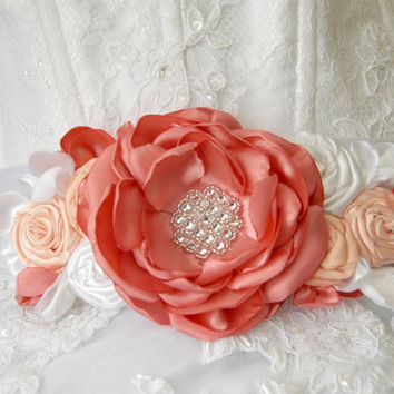 Wedding sash, belt, bridal flower sash, wedding corsage, bridal gown sash, flower belt, flower sash belt, dress sash