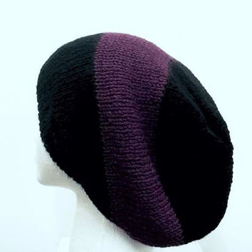 Large stripe slouch hat purple and black hand knitted  5225