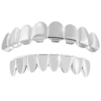 Plain Top Bottom White Finish Grillz  Halloween Sale