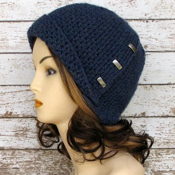 Crocheted Women's Cloche, Blue Lamb's Wool Winter Hat, Blue Mist Teen Hat