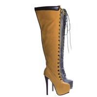 Jaylo28a Camel by Bella Luna, High Heel Over Knee Lace Up Combat Boots, Women's Thigh High