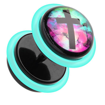 Galaxy Cross Acrylic Fake Plug with O-Rings