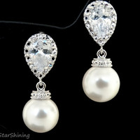 Bridal Earrings Bridesmaids Gift Cubic Zirconia Ear Post With WHITE Pearls Earrings Dangle Earrings