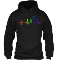 HEARTBEAT CAT LGBT Pride Month 2018 T-Shirt Pullover Hoodie 8 oz