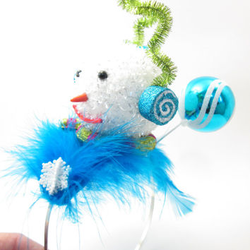 Wacky Tacky Snowman Themed Holiday Party Hat - crazy elf hat  - Ugly Christmas Sweater - Frozen Fascinator - Blue Christmas