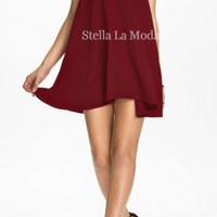 Velvet Floral Inserting High Neck Skater Dress