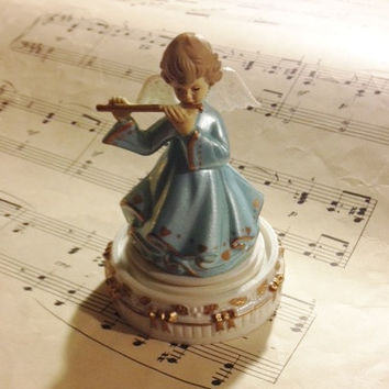 Enesco Musical Angel Figurine , Gift for Child, Plays Amazing Grace, Blue Dress