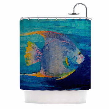 "Carol Schiff ""Tropical Fish II"" Blue Pink Painting Shower Curtain"