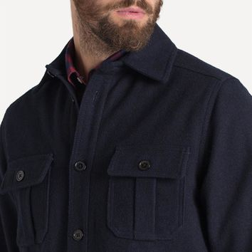 Langley Wool Overshirt in Navy