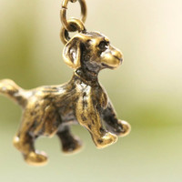 3D dog pendant, retro bronze dog charm,vintage little cute dog,gift for BF and lover
