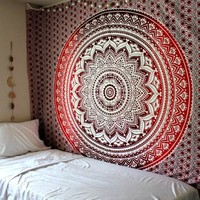 The Rhiannon Red Burgundy Ombre Boho Tapestry