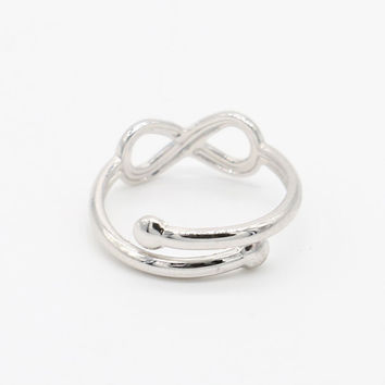 Silver Infinity Sign Open Knuckle Ring