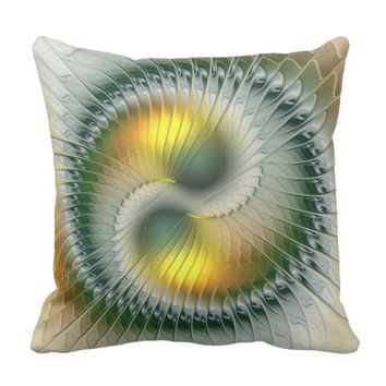Yin Yang Green Yellow Abstract Colorful Fractal Throw Pillow