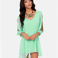 V-Neckline Loose Fitting Mini Chiffon Dress with Sleeves Slit
