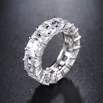 Luxury Eternity Ring Cubic Zirconia Prong Set Wedding Band