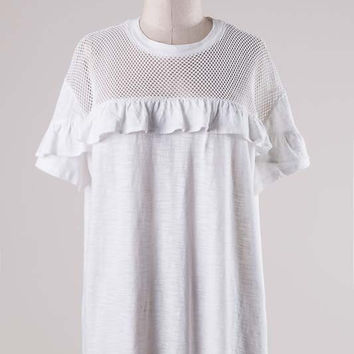 RWL BOUTIQUE - Mesh and Ruffle Tee - Ruffles with Love - RWL