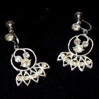 Vintage Clear Rhinestone Chandelier Earrings