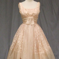 Dusty Pink Lace & Organdy 1950's COcktail Dress VINTAGEOUS VINTAGE CLOTHING
