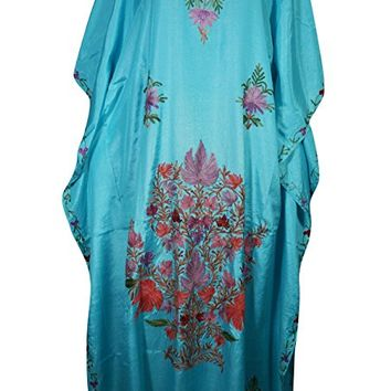 Mogul Womens Kaftan Ari Floral Embroidery Silk Kimono Caftan Evening Maxi Dress