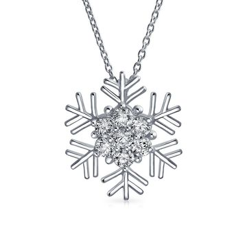 Branch Snowflake Pendant Cubic Zirconia CZ Necklace Sterling Silver
