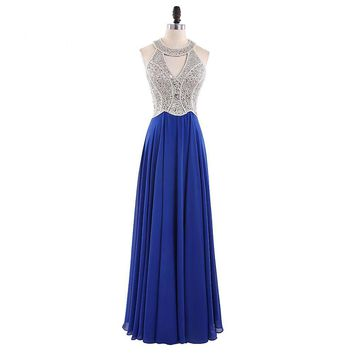Long Evening Dresses Royal Blue Chiffon A line Formal Long Dress Halter Custom