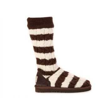 Ugg Boots Black Friday Sale Knit Stripe Cable 5822 Chocolate For Women 89 93
