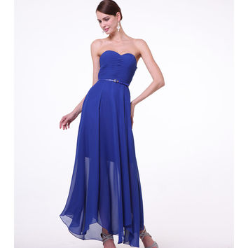Navy Strapless Chiffon Belted Dress 2015 Prom Dresses