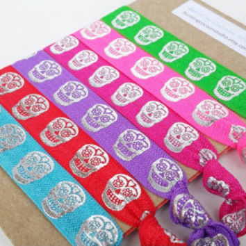 Sugar Skull hair ties, set of 6 hairties, multicolor ties, silver skulls, Day of the Dead, Dia de Los Muertos, elastic ponytail holders
