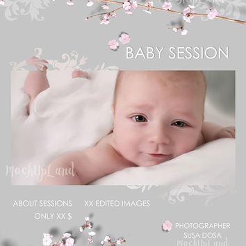 Buy any 2 get 3 - Photographer Templates - Newborn -  Children Session Template - Wedding photography Marketing Board Flyer - 5x7 inch Flyer