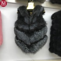2017 new women real natural fox fur vest 100% real genuine fox fur gilet luxury colorful real natural fox fur sleeveless jacket