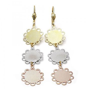 Gold Layered 5.069.005 Long Earring, Flower Design, Diamond Cutting Finish, Tri Tone