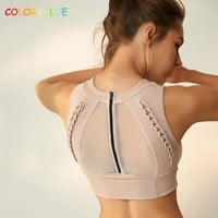 Colorvalue Top Quality Back Zipper Sport Bras Women Weave Design Fitness Yoga Bra Anti-sweat High-Neck Dance Athletic Brassiere