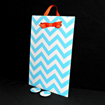 Magnet Board Chevron - Girly Blue Wall Hanging - Fabulous Home Office Organizer