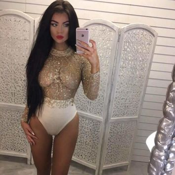 BKLD Black Little Turtleneck Long Sleeve Sexy Bodysuit 2017 New Spring Mesh Stitching Sequins Embroidery Bodysuit Women Rompers